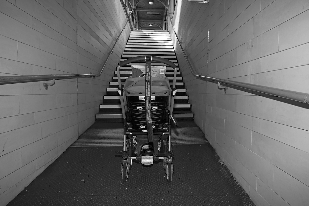 The dreaded stairs stand in the way of the pram and Joe inside it to get to the platform where we catch the train in Berkhamsted, England Thursday, March 5, 2015 (Elizabeth Dalziel) #thesecretlifeofmothers #bringinguptheboys #dailylife