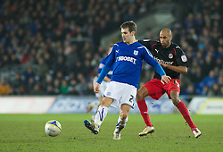 CARDIFF, WALES - Tuesday, February 1, 2011: Cardiff City's Aaron Ramsey and Reading's Jimmy Kebe in action during the Football League Championship match at the Cardiff City Stadium. (Photo by Gareth Davies/Propaganda)