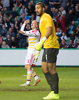 05/06/15 INTERNATIONAL CHALLENGE MATCH<br /> SCOTLAND v QATAR<br /> EASTER ROAD STADIUM - EDINBURGH<br /> Scotland's Leigh Griffith's curses his luck as his goal is ruled to be offside