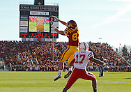 November 06 2010: Iowa State Cyclones wide receiver Jake Williams (83) pulls in a 13 yard pass for a touchdown in front of Nebraska Cornhuskers defensive back Ciante Evans (17) during the first half of the NCAA football game between the Nebraska Cornhuskers and the Iowa State Cyclones at Jack Trice Stadium in Ames, Iowa on Saturday November 6, 2010. Nebraska defeated Iowa State 31-30.