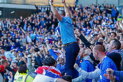 **GOAL** Ibrox erupts as Rangers take a 2 goal lead during the Ladbrokes Scottish Premiership match between Rangers and Celtic at Ibrox, Glasgow, Scotland on 12 May 2019.