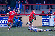 Keighley Cougars winger Andy Gabriel (2) goes clear to score the last minute try that secures the victory during the Betfred League 1 match between Keighley Cougars and Workington Town at Cougar Park, Keighley, United Kingdom on 18 February 2018. Picture by Simon Davies.