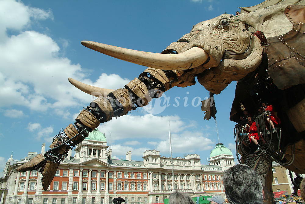 Sultan's Elephant; a 40 ton 121 metre tall mechanical elephant; three day street theatre event based on a Jules Verne story in Central London organised by Artichoke; a creative company; May 2006 UK
