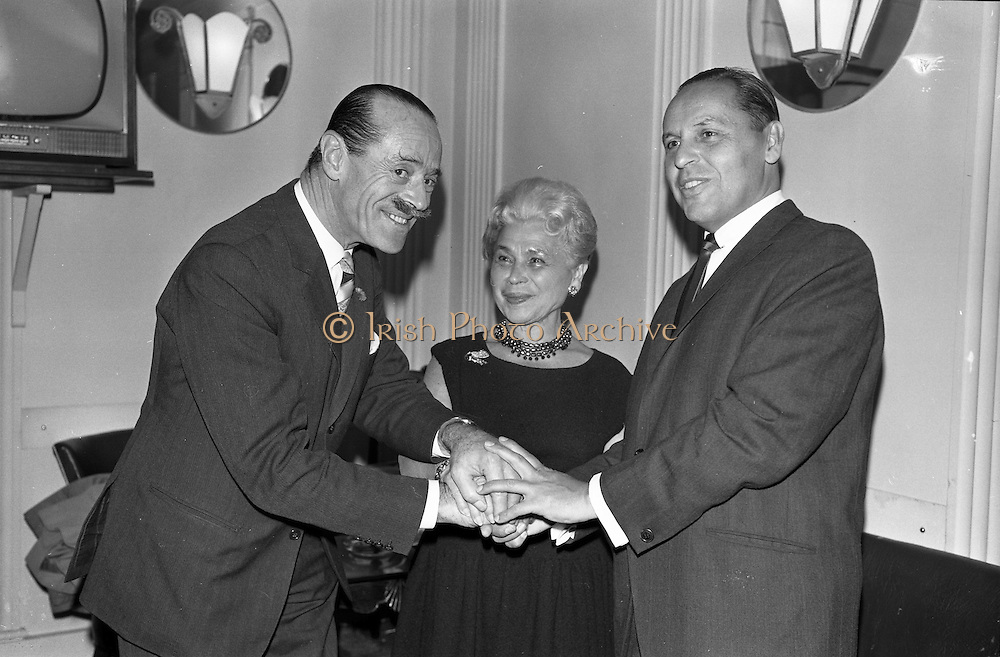 26/09/1962<br /> 09/26/1962<br /> 26 September 1962<br /> 40th Anniversary Party for Maindenform Inc., at the Gresham Hotel, Dublin. Picture shows  (l-r): Mr J.A. Chapman, managing Director, Switzer and Co. Ltd.; Mrs Ida Rosenthal, Chairman of the Board of Maidenform and Mr Sol Rubinstein, Assistant Vice President in charge of International Sales, Maidenform Incorporated.