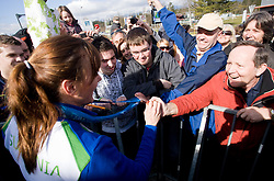 Slovenian bronze medalist cross-country skier Petra Majdic with her fans at arrival to Airport Joze Pucnik from Vancouver after Winter Olympic games 2010, on March 1, 2010 in Brnik, Slovenia. (Photo by Vid Ponikvar / Sportida)