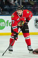 KELOWNA, BC - MARCH 03:  Jared Freadrich #27 of the Portland Winterhawks lines up for the face off against the Kelowna Rockets at Prospera Place on March 3, 2019 in Kelowna, Canada. (Photo by Marissa Baecker/Getty Images)