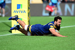 Marco Mama of Worcester Warriors dives over the try line  - Mandatory by-line: Dougie Allward/JMP - 15/04/2017 - RUGBY - Sixways Stadium - Worcester, England - Worcester Warriors v Bath Rugby - Aviva Premiership