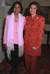 Left to right, MRS MICHAEL CAINE wife of the actor and PRINCESS ESRA JAH,  at a reception in London on 22nd September 1997.MBK 35