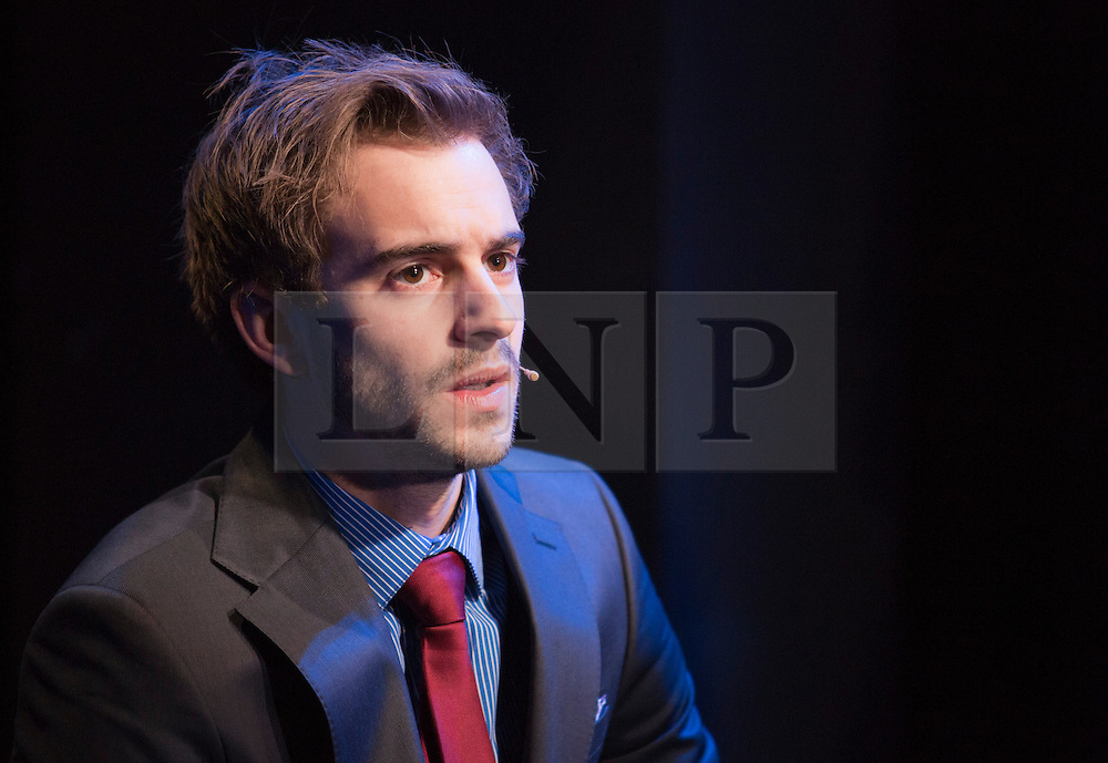 "© Licensed to London News Pictures. 31/01/2013. London, England. Luke Kempner as ""Bright Young Thing"". LIFT, world premiere of a new musical by Craig Adams and Ian Watson about love, life and loss in a London lift. Cast includes: Julie Atherton, Nikki Davis-Jones, Cynthia Erivo, Jonny Fines, Luke Kempner, Ellie Kirk, George Maguire, Robbie Towns. 30 January to 24 February 2013. Photo credit: Bettina Strenske/LNP"