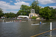 Henley on Thames, England, United Kingdom, 3rd July 2019, Henley Royal Regatta, Henley Reach, Crews Training by, Temple Island, during the Luncheon Interval,  [© Peter SPURRIER/Intersport Image]<br />
