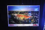 Drawing of expanded Vaught-Hemingway Stadium as Ole Miss athletic director Pete Boone announces a $150 million capital improvement campaign to build a new basketball arena and expand Vaught-Hemingway Stadium in Oxford, Miss. on Tuesday, August 9, 2011.