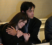 April 21, 2014 - Los Angeles, California, U.S - <br /> <br /> Hollywood Sex Ring Lawsuit<br /> <br /> Bonnie Mound (L) is comforted by her son Michael Egan, and attorney Jeff Herman at an announcement of the filing of three lawsuits against Hollywood executives on behalf of Michael Egan..Egan alleges the three executives were part of a Hollywood sex ring. Egan has filed a separate lawsuit against X-Men's'' Bryan Singer, alleging he was sexually abused by the director, who was also part of the sex ring. ©Exclusivepix