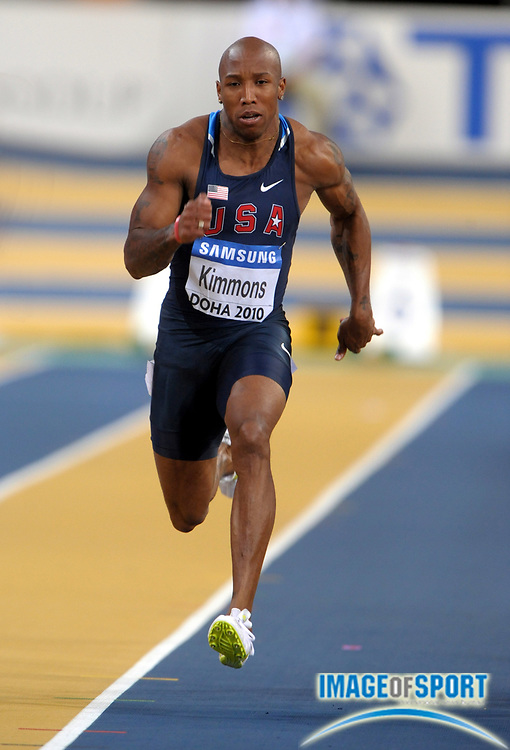 Mar 12, 2010; Doha, QATAR; Trell Kimmons (USA) wins 60m heat in 6.61 in the IAAF World Indoor Championships in Athletics at the Aspire Dome.
