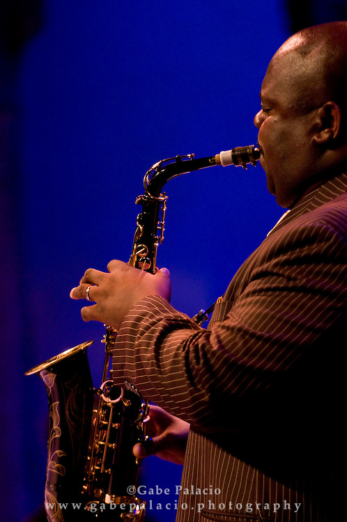 """Wessell """"Warmdaddy"""" Anderson, alto Saxophone, performing with the Wynton Marsalis Septet in the Venetian Theater for Jazz Festival at Caramoor  in Katonah, New York on Friday, Aug 1, 2008."""