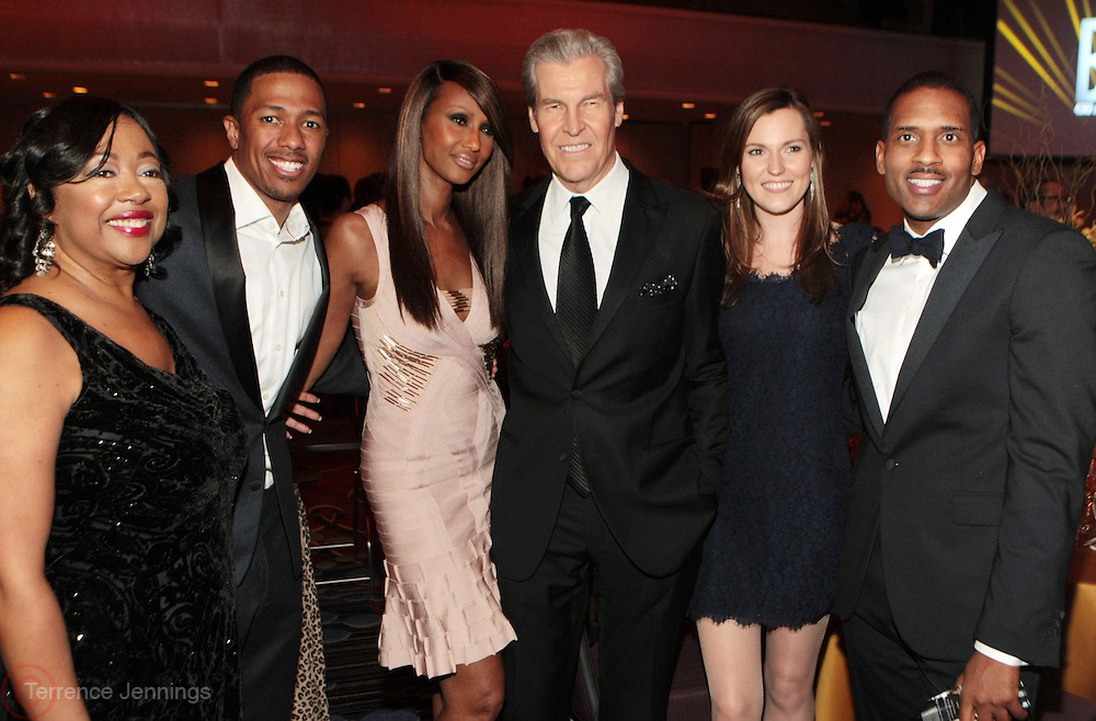 17 October 2013-New York, NY: (L-R) Gail Monroe-Perry, President, BRAG, Recording Artist/Media Personality Nick Cannon, Former Super Model/Entrepreneur Iman, Terry Lungrene, Chairman, President & CEO, Macy's, Tracey Lungrene, and Fashion Executive Alan Lafontant attend the B.R.A.G. 43rd Annual Scholarship & Awards Gala Inside  Inside held at the Marriott Marquis Hotel on October 17, 2013 in New York City . ©Terrence Jennings