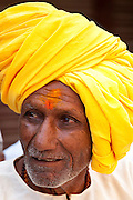 Indian Hindu man in the city of Varanasi, Benares, Northern India