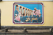 A painted mural on a wall in the Lapa neighborhood of Rio de Janeiro, Brazil.