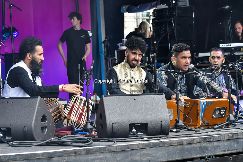 Chand Ali Khan Qawaal and Party - Qawwali performs at the Eid festival in Trafalgar Square London to mark the end of Ramadan on 8 June 2019, London, UK.