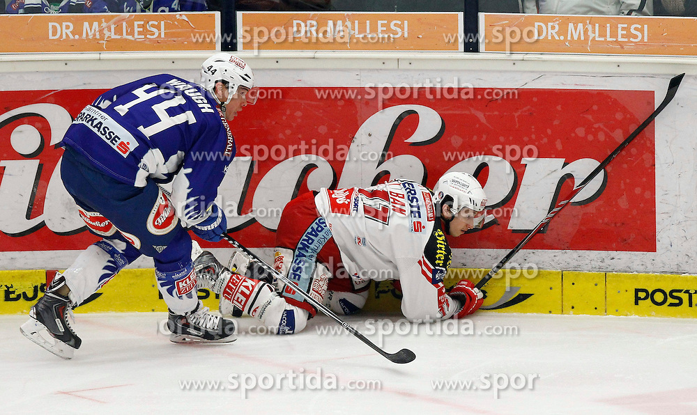 18.01.2015, Stadthalle, Villach, AUT, EBEL, EC VSV vs EC KAC, 40. Runde, im Bild v.l. Geoff Waugh (VSV) und Daniel Ban (KAC) // during the Erste Bank Icehockey League 40th round match between EC VSV vs EC KAC at the City Hall in Villach, Austria on 2015/01/18, EXPA Pictures © 2015, PhotoCredit: EXPA/ Oskar Hoeher