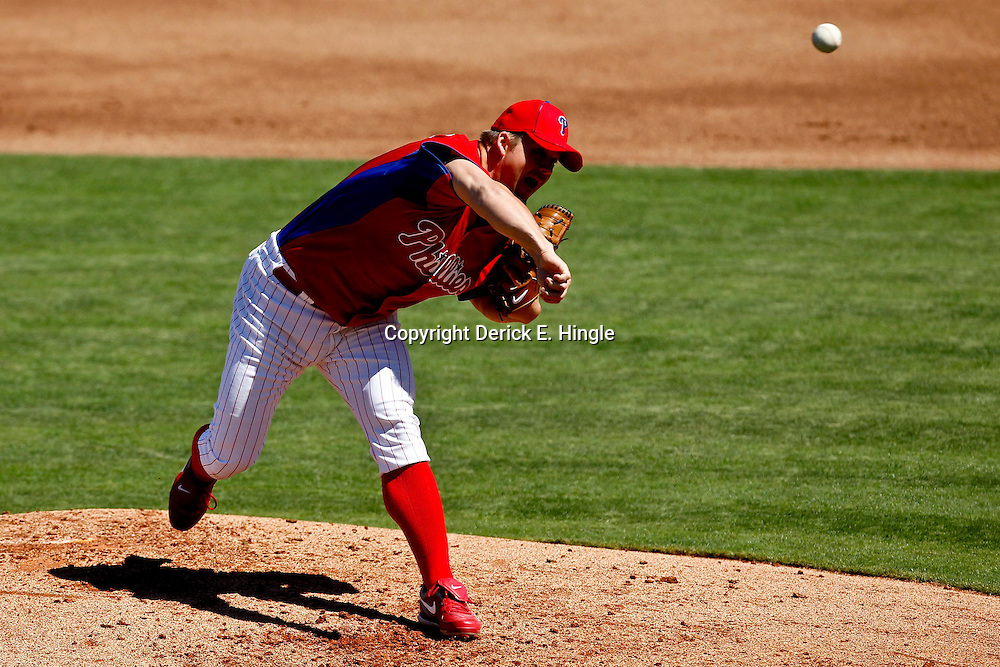 March 05, 2011; Clearwater, FL, USA; Philadelphia Phillies starting pitcher Joe Blanton (56) during a spring training game against the New York Yankees at Bright House Networks Field. Mandatory Credit: Derick E. Hingle-US PRESSWIRE