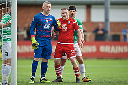 RHOSYMEDRE, WALES - Sunday, May 5, 2019: The New Saints' Blaine Hudson (L) and Connah's Quay Nomads' Jamie Insall during the FAW JD Welsh Cup Final between Connah's Quay Nomads FC and The New Saints FC at The Rock. (Pic by David Rawcliffe/Propaganda)