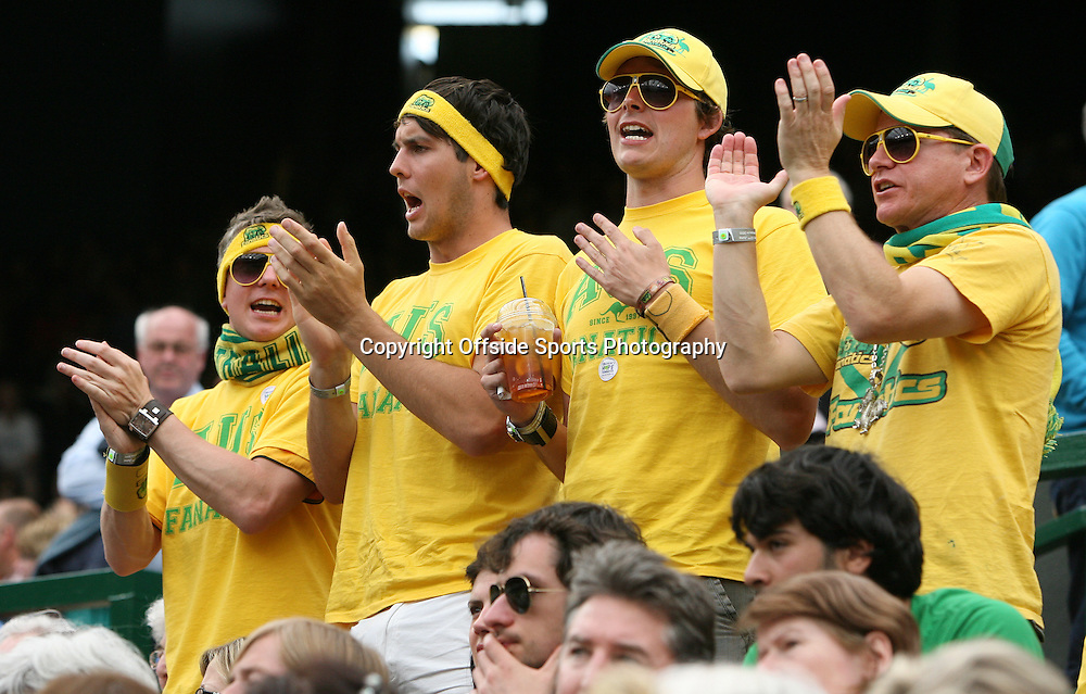 23/06/2011 - Wimbledon (Day 4) - Australian fans cheering on Lleyton Hewitt - Photo: Simon Stacpoole / Offside.