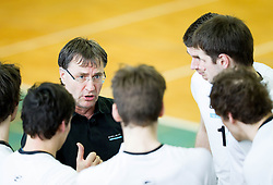 Marko Brumen, head coach of Calcit Kamnik during volleyball match between Calcit Volleyball and ACH Volley in 4th Final Round of Radenska Classic League 2012/13 on April 16, 2013 in Arena Kamnik, Slovenia. (Photo By Vid Ponikvar / Sportida)