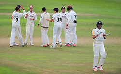 Somerset celebrate the wicket of Jake Ball.  - Mandatory by-line: Alex Davidson/JMP - 22/09/2016 - CRICKET - Cooper Associates County Ground - Taunton, United Kingdom - Somerset v Nottinghamshire - Specsavers County Championship Division One