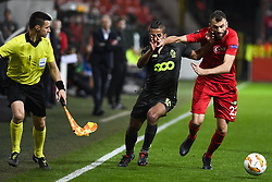 October 4, 2018 - Liege, BELGIUM - Standard's Mehdi Carcela and Akhisar's defender Mustafa Yumlu fight for the ball during a game of Belgian soccer team Standard de Liege against Turkish team Akhisar Belediyespor, in Liege, Thursday 04 October 2018, on day two of the Europa League group stage in group J. BELGA PHOTO LAURIE DIEFFEMBACQ (Credit Image: © Laurie Dieffembacq/Belga via ZUMA Press)