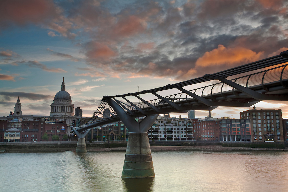 Millenium Bridge over the River Thames looking towards St Paul's Cathederal, London, Uk