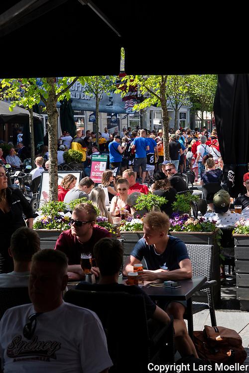 DK caption:<br /> 20180509, Herning, Danmark.<br /> IIHF Verdensmesterskabet i Ishockey. <br /> Gruppe B:  Fans i g&aring;gaden i Herning<br /> Foto: Lars M&oslash;ller<br /> UK Caption:<br /> 20180509, Herning, Denmark.<br /> IIHF Ice Hockey World Championship. <br /> Group B: Fans in the centre of Herning.<br /> Photo: Lars Moeller