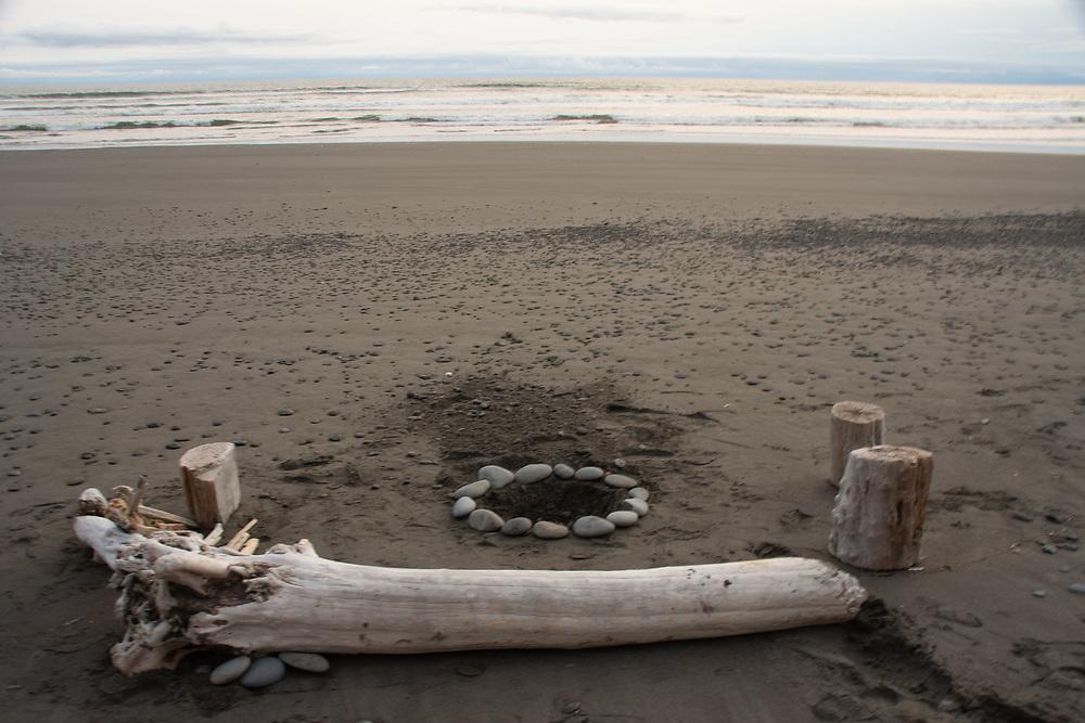 Beach Firepit Prepared for 4th of July Festivities, Kalaloch, Olympic Peninsula, Washington, US