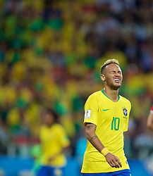 MOSCOW, RUSSIA - Wednesday, June 27, 2018: Brazil's Neymar da Silva Santos Júnior looks dejected after missing a chance during the FIFA World Cup Russia 2018 Group E match between Serbia and Brazil at the Spartak Stadium. (Pic by David Rawcliffe/Propaganda)