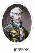 George-Louis Leclerc Buffon (1707-1778) French naturalist, author of 44 volume 'Histoire Naturelle'. Proposed earth older than 4004 BC: precursor of theory of evolution. 18th century hand-coloured engraving.