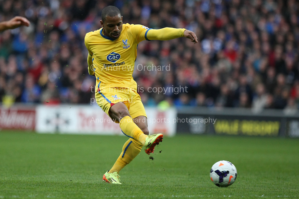 Jason Puncheon of Crystal Palace shoots at goal. Barclays Premier league match, Cardiff city v Crystal Palace at the Cardiff city stadium in Cardiff, South Wales on Saturday 5th April 2014.<br /> pic by Mark Hawkins, Andrew Orchard sports photography.
