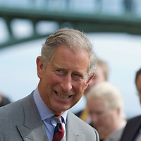 HRH the Prince of Wales visits Scarborough where he opens the newly refurbished Rotunda Museum. He walks on the SPA bridge looking at the South Bay area and the sea. HRH also met Jimmy Saville Scarborough North Yorkshire  England 14 September 2007
