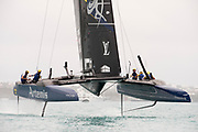 The Great Sound, Bermuda. 10th June 2017. Artemis Racing (SWE) lose first race of the Louis Vuitton America's Cup Challenger playoff finals. Emirates Team New Zealand win race 1.