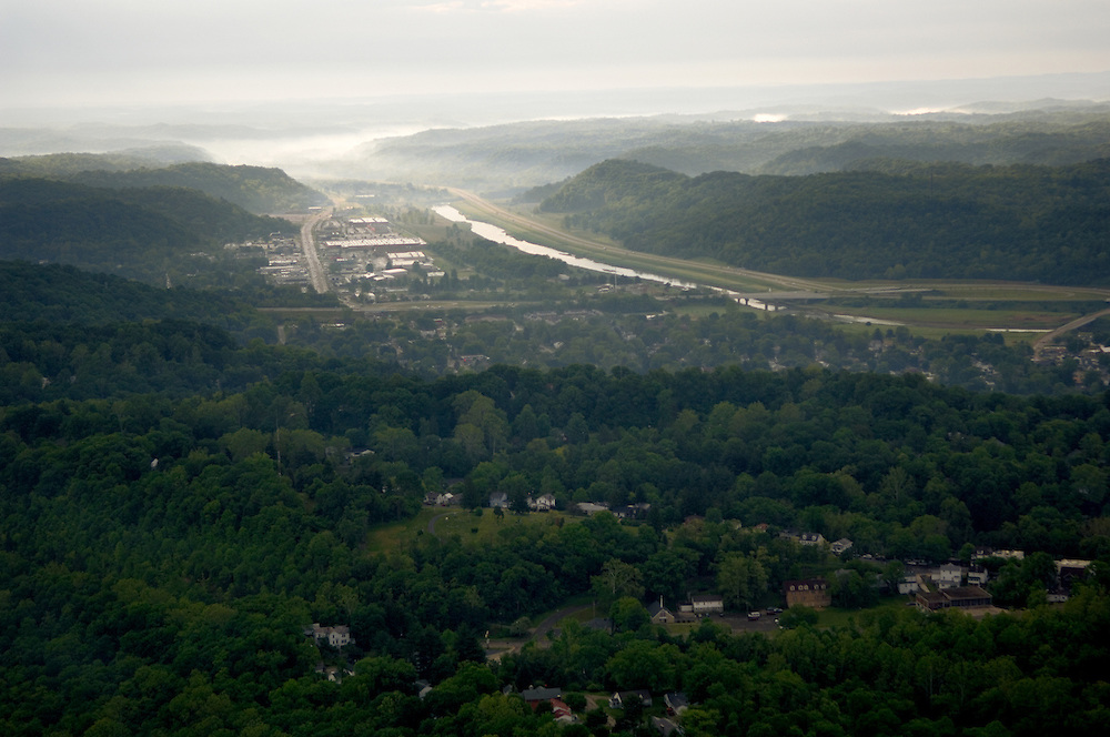 Aerial view of Athens and the Hocking River. © Ohio University