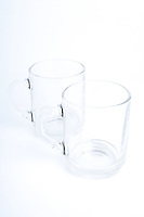 Studio shot of two empty glasses