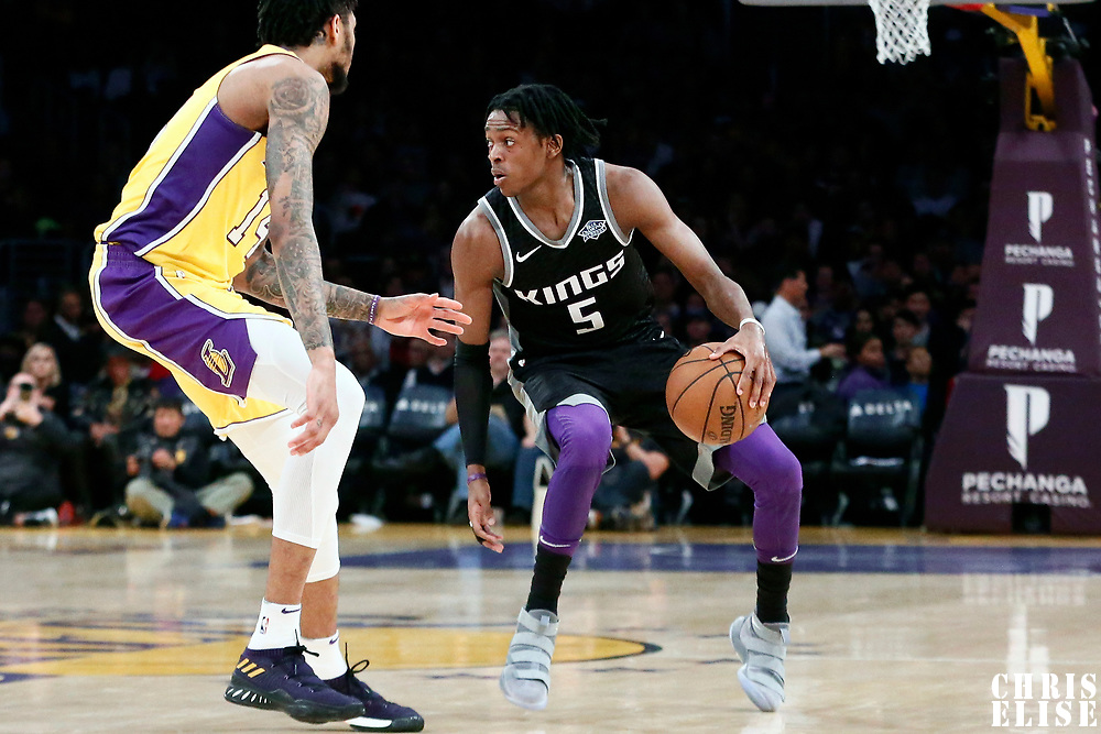 09 January 2018: Los Angeles Lakers forward Brandon Ingram (14) defends on Sacramento Kings guard De'Aaron Fox (5) during the LA Lakers 99-86 victory over the Sacramento Kings, at the Staples Center, Los Angeles, California, USA.