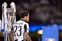 Daniel Alves of Juventus walks by the Champions League Trophy during the UEFA Champions League Final match between Real Madrid and Juventus at the National Stadium of Wales, Cardiff, Wales on 3 June 2017. Photo by Giuseppe Maffia.<br /> <br /> Giuseppe Maffia/UK Sports Pics Ltd/Alterphotos