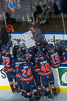 KELOWNA, CANADA - FEBRUARY 24: Kamloops Blazers' head coach Don Hay goes over a play on the bench against the Kelowna Rockets  on February 24, 2018 at Prospera Place in Kelowna, British Columbia, Canada.  (Photo by Marissa Baecker/Shoot the Breeze)  *** Local Caption ***