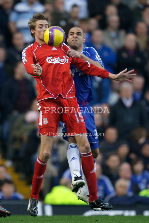 LONDON, ENGLAND - Sunday, February 10, 2008: Liverpool's Peter Crouch and Chelsea's Alex during the Premiership match at Stamford Bridge. (Photo by David Rawcliffe/Propaganda)