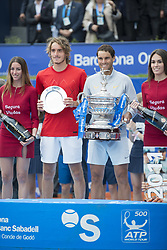 April 29, 2018 - Barcelona, Barcelona, Spain - RAFAEL NADAL and STEFANOS TSITSIPAS at the podium of Barcelona Open Banc Sabadell 2018. RAFAEL NADAL won the final 6-2 6-1 against STEFANOS TSITSIPAS. (Credit Image: © Patricia Rodrigues/via ZUMA Wire via ZUMA Wire)