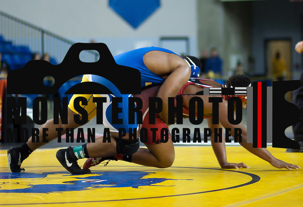 12/18/11 Newark DE: Dink Purnell of Al Dupont works to pin DaQuante Timbers of Freedom in the Beast of the East 285 pounds Semi-Finals Sunday Dec. 18, 2011 at The Bob Carpenter Center in Newark Delaware.<br /> <br /> Special to The News Journal/SAQUAN STIMPSON