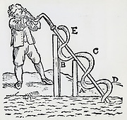 Raising water by means of an Archimedean  screw.  Woodcut, 1668