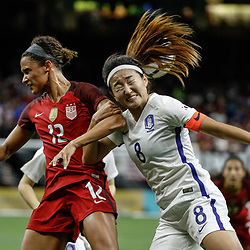 Oct 19, 2017; New Orleans, LA, USA; USA forward Lynn Williams (12) collides with Korea Republic Cho Sohyun (8) during the second half of an International Friendly Women's Soccer match at the Mercedes-Benz Superdome. Mandatory Credit: Derick E. Hingle-USA TODAY Sports