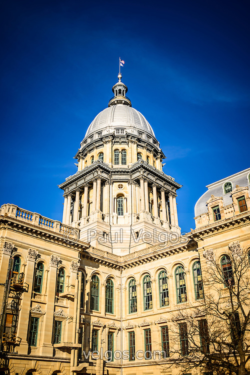 Photo of Illinois State Capitol in Springfield, Illinois. The Illinois State Capitol building was completed in the late 1800's and is French Renaissance style.