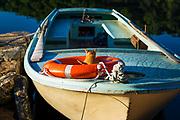 Fishing boat and cat at Soline, Mljet Island National Park, Dalmatia, Croatia