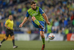 November 30, 2017 - Seattle, Washington, U.S - Soccer 2017: Sounder WILL BRUIN (17) attempts a shot on goal as the Houston Dynamo play the Seattle Sounders in the 2nd leg of the MLS Western Conference Finals match at Century Link Field in Seattle, WA. (Credit Image: © Jeff Halstead via ZUMA Wire)